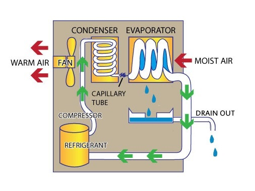 refrigerant type dehumidifier working